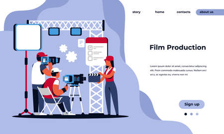 Video production landing page. Movie making studio and shooting film concept with cartoon movie crew characters. Vector illustrated cinema web page infographic