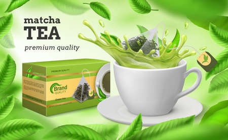 Tea ad. Realistic cup and package of green and dried tea, natural herbal drink advertisement with flying leaves and branding. Stock Illustratie