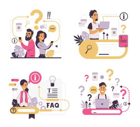 FAQ concept. Customer support and forum question metaphor, helpful information and online communication.