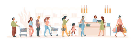 Customers at supermarket. Cartoon characters pay to cashier in grocery or retail store, buyers with trolley and goods in line. Vector purchase scene in retail store with cashier Stock Illustratie
