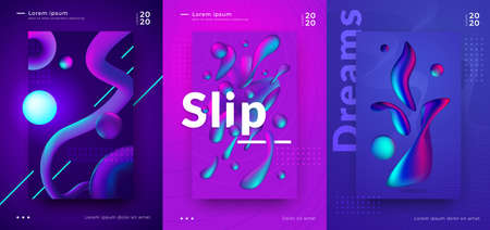 Gradient poster. Cover design with abstract minimal shapes, bright vibrant colors and 3D geometric objects. Stock Illustratie