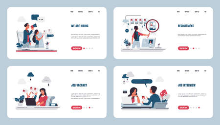 Recruitment landing page. Stuff searching and hiring concept with cartoon characters, human resources and job interview. Vector web page set for talent search Stock Illustratie
