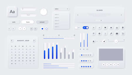 Web UI kit. Mobile application and web page interface elements with buttons field sliders and calendar. Vector illustration responsive UX graphics design template for site navigate Stock Illustratie