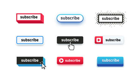 Subscribe buttons. Video channel interacting UI element with different design template, subscription logo design.