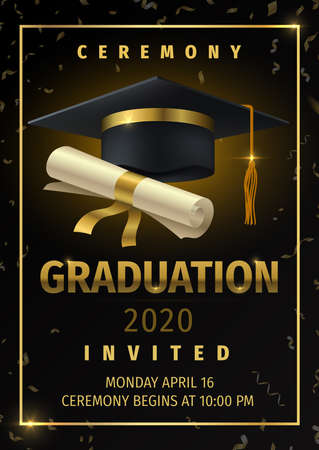 Graduation party. Prom celebration invitation poster, congratulation and greetings flyer with black degree cap and confetti.