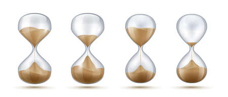 Realistic hourglass. Sand clock with transparent glass flask and reflections isolated on white background. Vintage classic interior decoration vector template like management concept