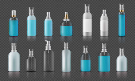 Sanitizer bottle. Infection and disease prevention, corona virus protection, cosmetic bottles with pump. Vector isolated illustration plastic realistic bottle set on dark transparent background