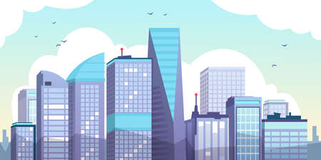 Cartoon morning city. Urban landscape with skyscrapers, clouds and birds, flat urban property illustration. Vector illustration panorama modern cityscape