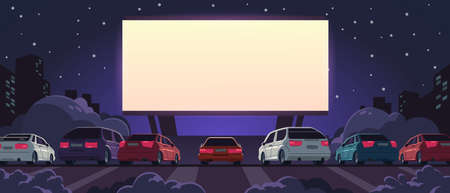 Drive-in cinema. Open space auto theater with cartoon glowing white screen and car parking, outdoor movie at night. Vector illustration automobile outdoor parking