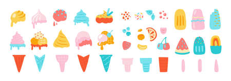 Ice cream elements. Waffle cons with sundae, chocolate vanilla and other ice cream balls, nuts strawberry and mint flavors. Vector isolated illustration set on white background Stock Illustratie