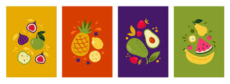 Fruit posters. Collection of bright summer brochures with berries citrus and other tropical organic fruits. Vector set illustrations of brochures and flyers or textile print image with vegan food