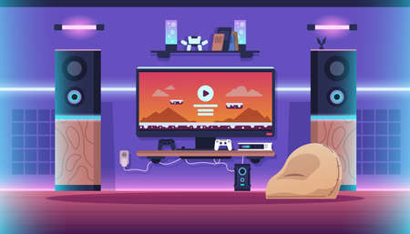 Game room. Cartoon interior of childrens room with big screen, video game, neon lights and cozy furniture. Vector illustration game streaming concept