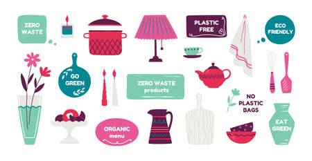 Zero waste products. Reusable cutlery food and containers, trendy hand drawn ecology banners with quotes and grocery. Vector image recycle objects set