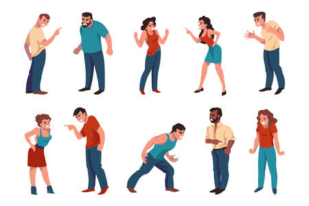 Angry people. Aggressive men and women argue and emotionally dispute, cartoon characters fighting about business or divorce. Vector set illustrations of conflict scenes crier graphic person