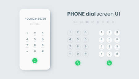 Smartphone dial. Realistic phone number pad, call screen UI with keypad and dial buttons.