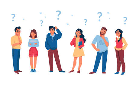Asking people. Cartoon curious persons with question marks solve problem and thinking. Vector illustration diverse thoughtful male and female characters with searching answer to questions