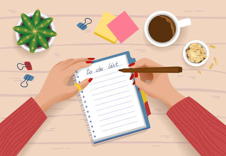 To do list. Top view of cartoon character planning day or shopping list with paper notebook and cup of coffee. Vector illustration daytime routine scene woman hands and list