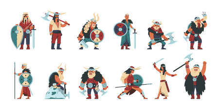 Viking characters. Cartoon scandinavian mythology warrior people, funny male and female in norway viking costumes. Vector set illustrations women and men medieval warriors
