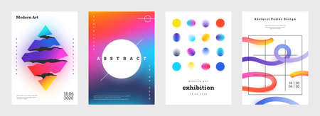 Minimal cover. Abstract geometric music posters and book titles with simple shapes and vibrant bright colors. Vector futuristic trendy flyer set with colour gradient elements on white background Stock Illustratie