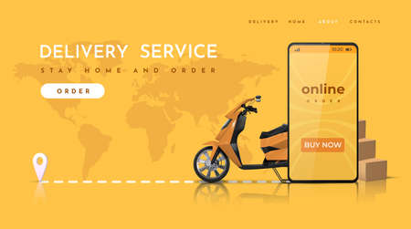 Delivery service. Online food order landing page with realistic scooter. Vector image web page and mobile application concept of food delivery ordering Stock Illustratie