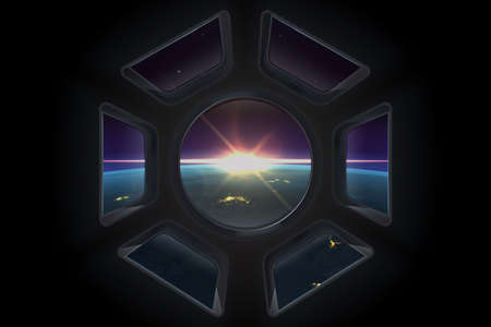 Space view. Realistic space station window with view to planet Earth with night cities and atmosphere. Vector illustration sunrise from space