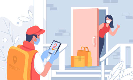 Contactless delivery. Cartoon courier carrying parcel to customers door, people on quarantine receive packages. Vector illustration delivery service banner with woman on background door and package Stock Illustratie