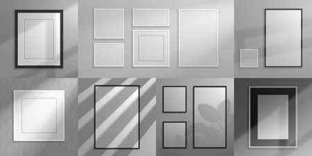 Realistic frames. Interior decorative elements, 3D mockups with shadow overlay effect for poster and banner design. Vector set illustration squared mock up for photo