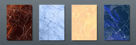 Marble posters. Abstract patter of liquid paint or stone texture, modern graphic template of acrylic brochure or invitation. Vector realistic set image artful stone design for modern backgrounds