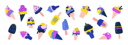 Ice cream. Sundae vanilla and chocolate  with different waffle cons and fruit berry and nuts toppings. Vector set image summer sweet dessert for children
