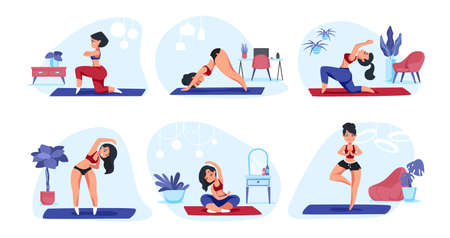 Home yoga. Cartoon girl doing physical exercises meditation and sport activities, healthy lifestyle concept. Vector trendy flat image set women exercises for relaxation and relaxed Stock Illustratie