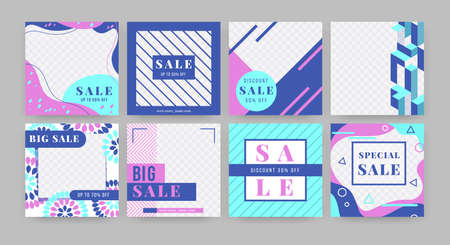 Social media banner. Special offer promotion flyer template with empty space and abstract geometry elements. Vector squares advertising layout set with elegant design
