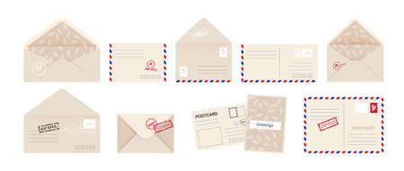 Envelope and greeting card. Cartoon invitation letter and postcard set with post stamps. Kraft paper square covers front and back, open and close postal express delivery. Vector isolated collection