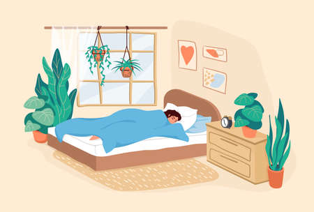 Sleeping woman. Cartoon adult girl resting in bedroom during the day, scene of human daily routine, female lifestyle in modern interior for posters. Cute vector flat illustration in pastel colors