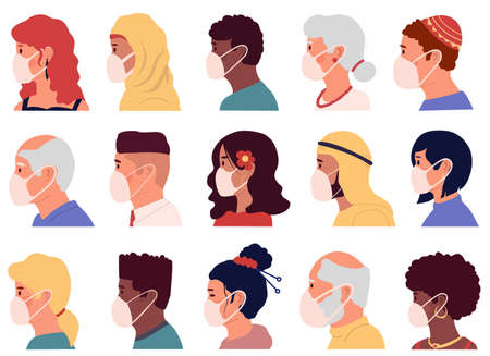 People in mask avatars. Cartoon profile portraits of male and female characters, coronavirus prevention. Multicultural men and women use individual protection. Vector disease covid-19 safety concept