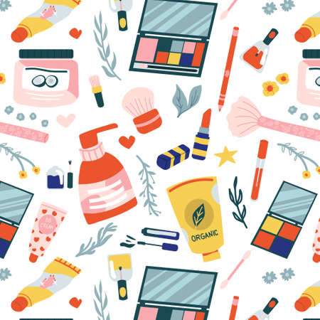 Cosmetics pattern. Seamless texture makeup and beauty products, cartoon lotion shampoo, lipstick, nail polish and cream. Template for packages, bags, wrapping paper vector doodle background on white