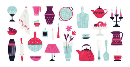 Trendy Household Hand Drawn Crockery Pottery And Kitchen Utensil Royalty Free Cliparts Vectors And Stock Illustration Image 156510256