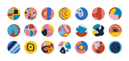 Story highlight cover. Contemporary doodle abstract shapes, hand drawn background elements for blogger stories. Bright colored circles template.  emblem collection mockup vector modern art set