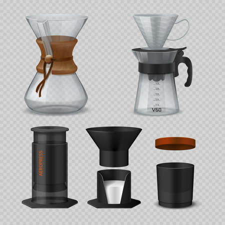 Alternative coffee. Realistic glass flasks for filter coffee brewing methods