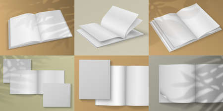 Realistic magazine. Blank white brochure mockup on colored background with shadow overlay effect.