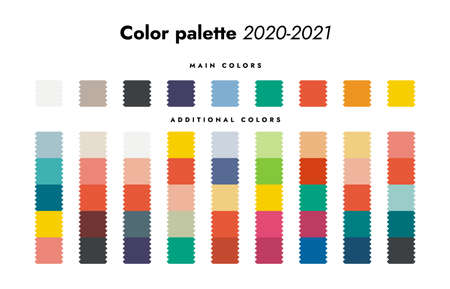 Color palette. Fall-winter 2020 fashion trendy colorful forecast, main and additional color scheme. 矢量图像