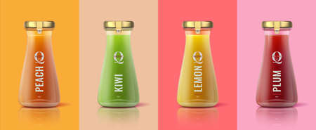 Detox juice bottles. Realistic glass jar mockup template with colorful healthy drinks for branding and advertising. Vector 3d isolated design ad template