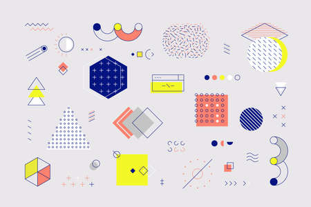 Memphis elements. Retro geometric shapes and graphic elements with lines and patterns for advertisement and social network posts. Vector illustrations graphical minimal styling symbol set 矢量图像
