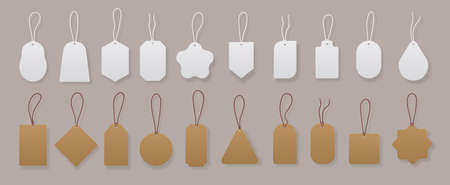 Price tags. Realistic blank and craft labels for gift cards, luggage and shop discounts.