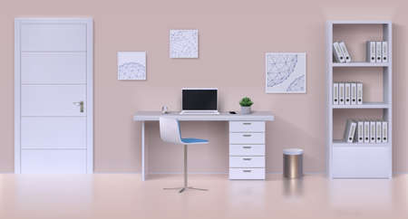 Cabinet interior. Realistic home office mockup with work table, computer, office stationery and home plant. Vector illustration interior template working place with white furniture and door 矢量图像