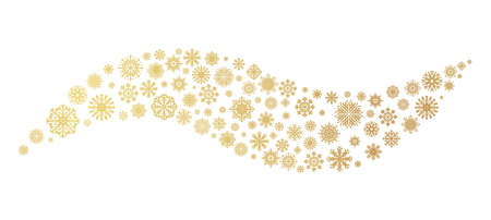 Golden wave snowflake. Christmas design templates for decoration and greeting cards. Shiny ice crystal festive effect, New Year invitations mockup.