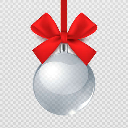 Realistic Christmas ball. Glass transparent bauble with red silk bow. Xmas eve decoration, round toy on bright ribbon. Winter holiday present template, silver empty souvenir mockup,  3D sphere
