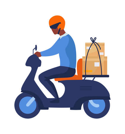 Postman riding motorbike. Cartoon man rides scooter in helmet with parcel, motorcyclist in profile. Modern vehicles, city transport. Isolated electric motorcycle, delivery service vector illustration
