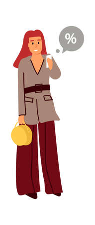 Woman with phone. Cartoon standing adult girl holding smartphone in hands. Cute female with speech bubble, sale percent symbol. Online shopping application, wireless communication technology