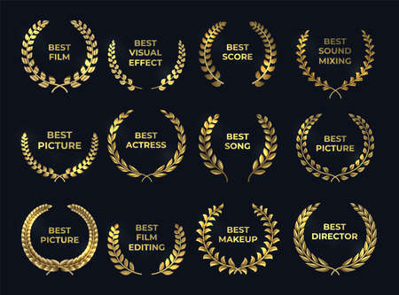 Golden laurel or palm wreath. Realistic cinema awards, leaf shapes winner prize. Isolated gold branches and nomination text. Film, directing, music nominate at tradition ceremony.