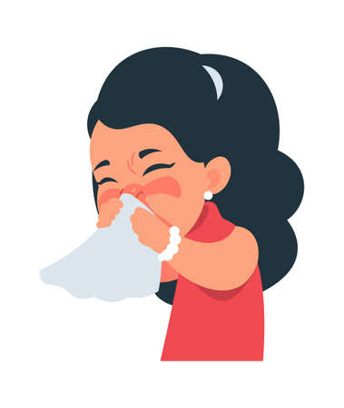 Sneezing girl. Cartoon character coughing and catching flu. Cute kid blows nose into handkerchief.